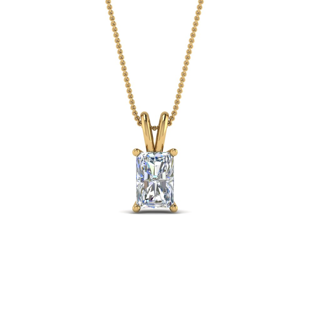 0.75 ct. radiant single diamond necklace in FDPD8469RA0.75CTANGLE2 NL YG