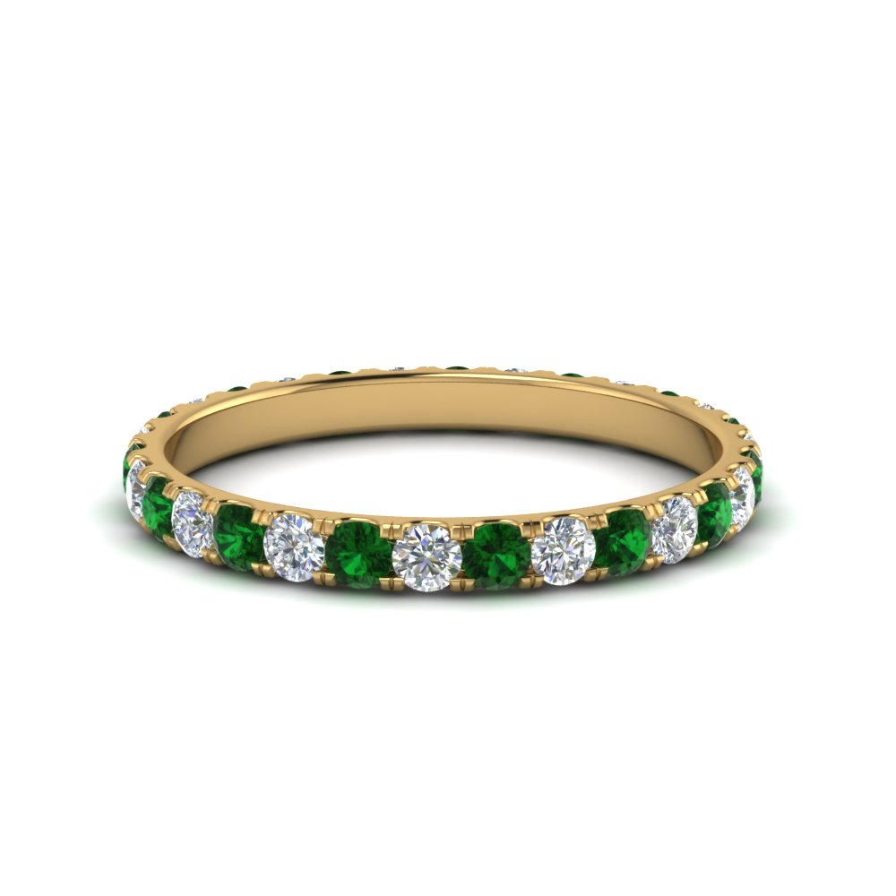 0.75 ct. round eternity diamond wedding band with emerald in FDEWB8371 0.75CTBGEMGR NL YG