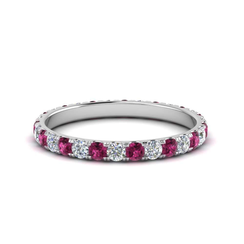 0.75 ct. round eternity diamond wedding band with pink sapphire in FDEWB8371 0.75CTBGSADRPI NL WG