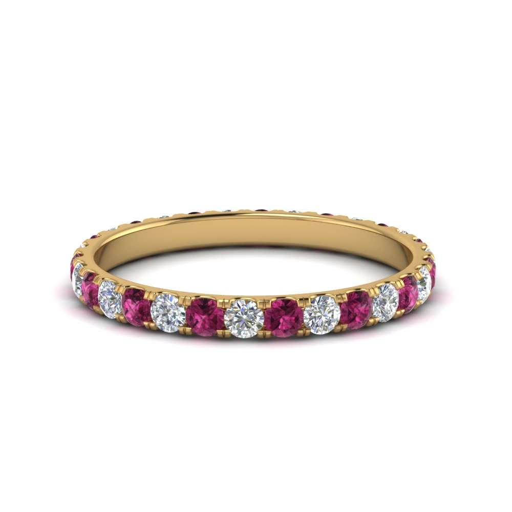 0.75 ct. round eternity diamond wedding band with pink sapphire in FDEWB8371 0.75CTBGSADRPI NL YG