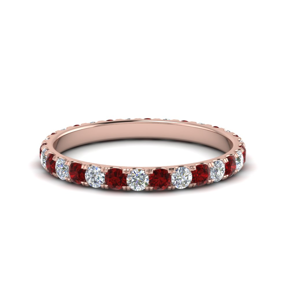 0.75 ct. round eternity diamond wedding band with ruby in FDEWB8371 0.75CTBGRUDR NL RG