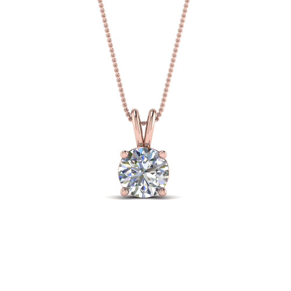 in yellow gold diamond necklace ct solitaire round pendant carat