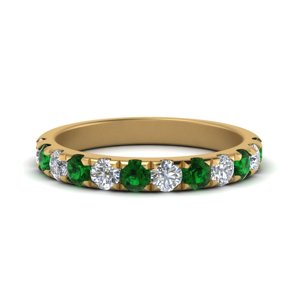 0.75-ct.-scalloped-diamond-wedding-band-with-emerald-in-FD123883RO(2.50MM)GEMGR-NL-YG