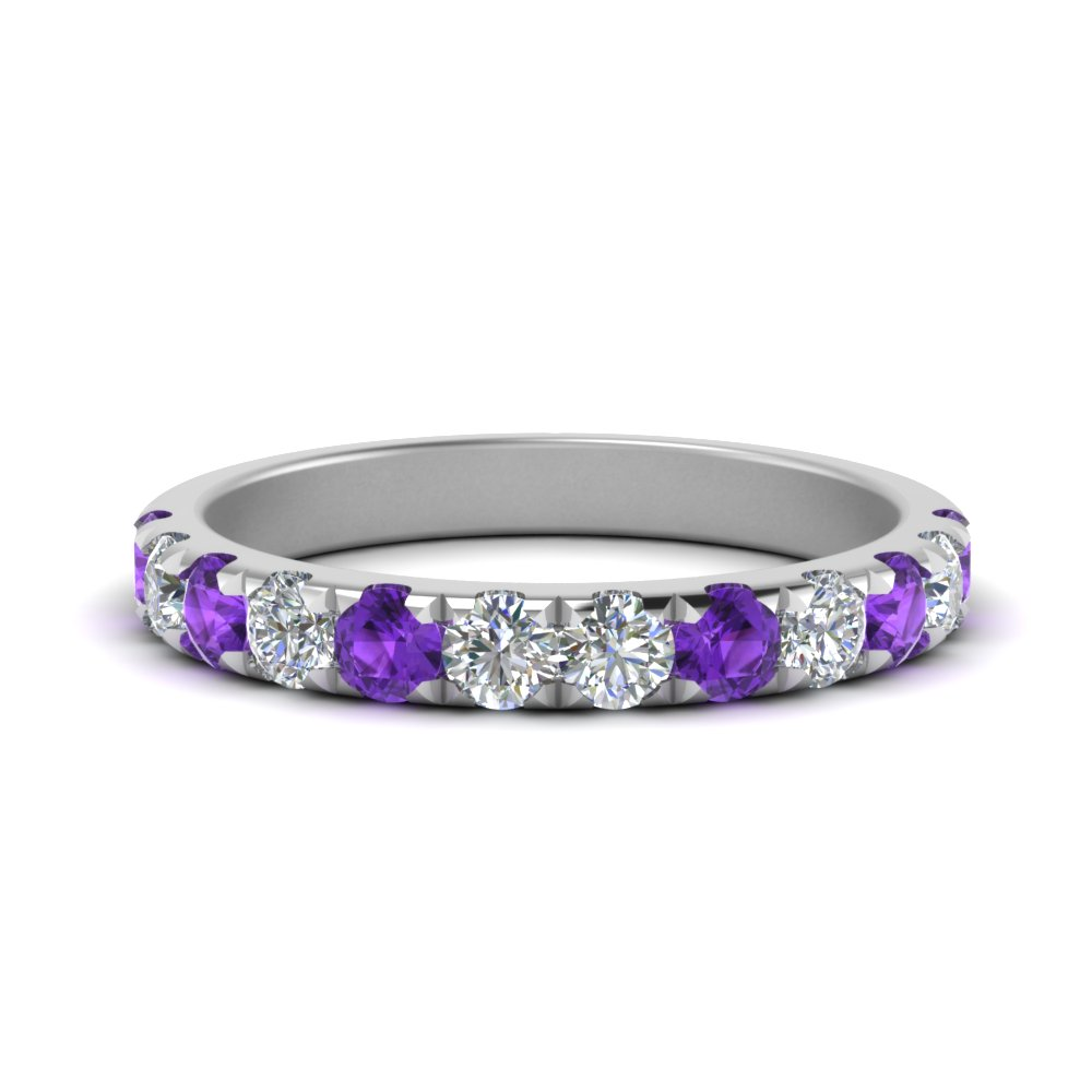 Purple Topaz Band with Diamonds For Her