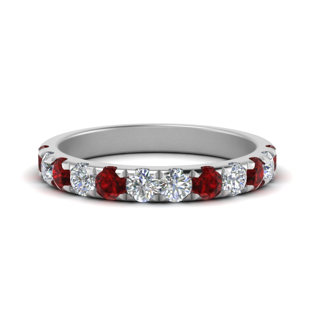 0.75 Ct. Scalloped Band With Ruby