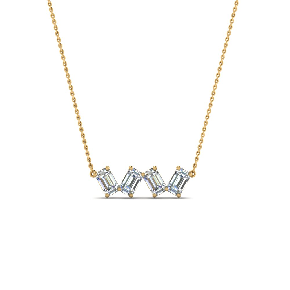 inc halo necklace with emerald cushion j shaped diamond a cut products