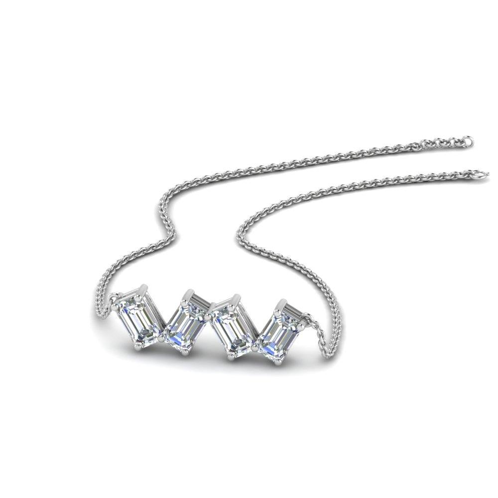 0.80 Carat Emerald Cut Diamond Necklace In 18K White Gold