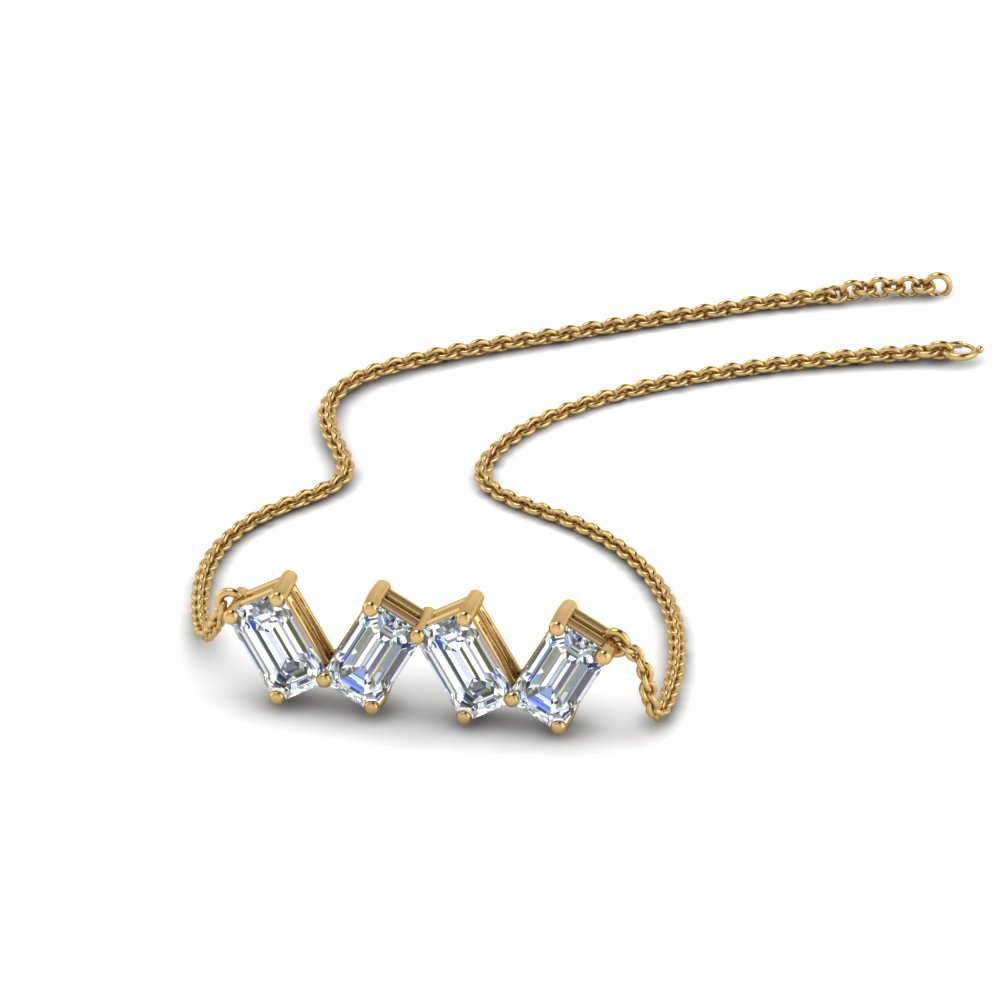 0.80 Carat Emerald Cut Diamond Necklace In 18K Yellow Gold