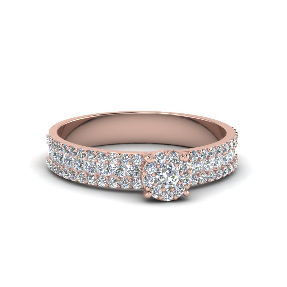 0.80 ct. diamond round halo ring in rose gold FD8491ROR NL RG