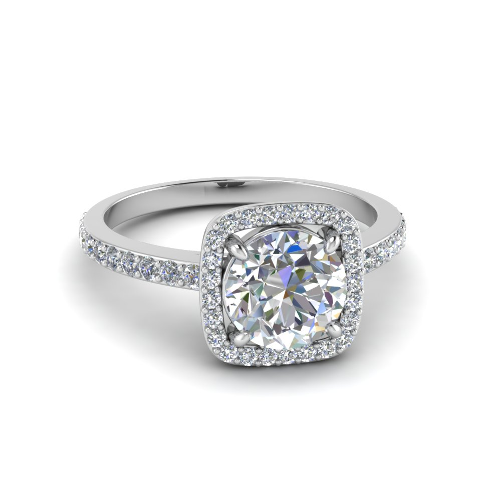 0.90 ct. diamond square halo engagement ring in FD8585ROR NL WG