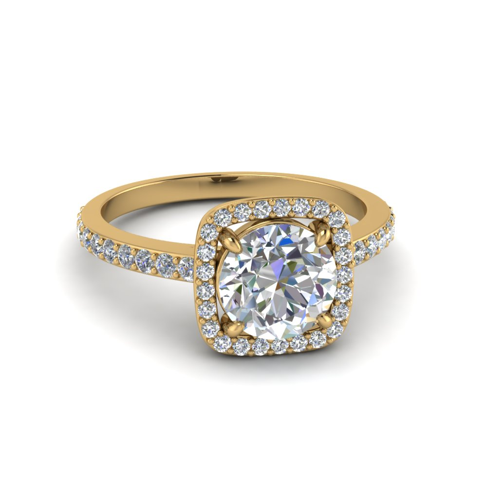 Diamond Square Halo Ring