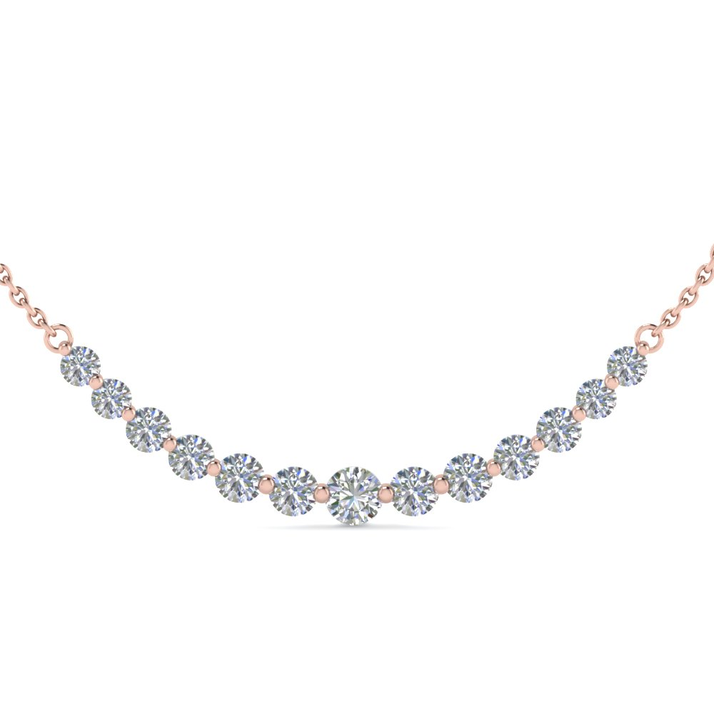 1 carat 13 round diamond graduated necklace in 14K rose gold FDNK8056 NL RG