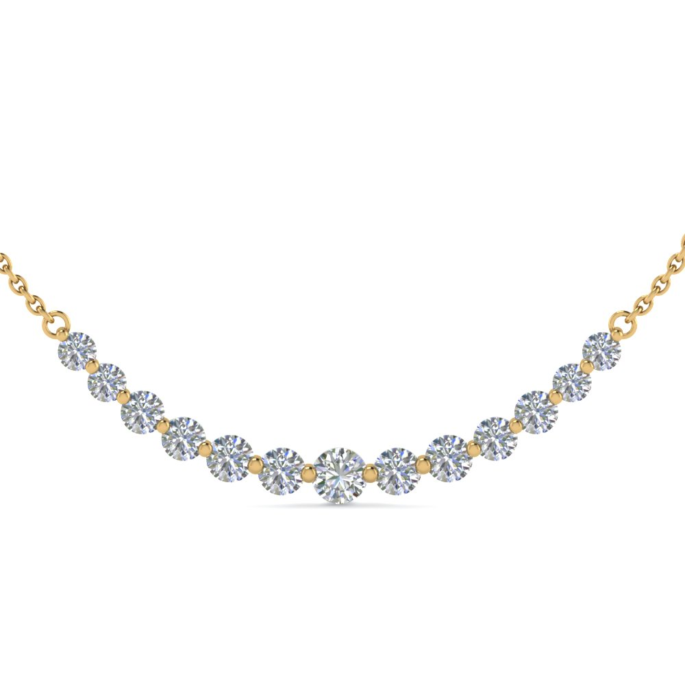 14k Yellow Gold Curved Diamond Necklace