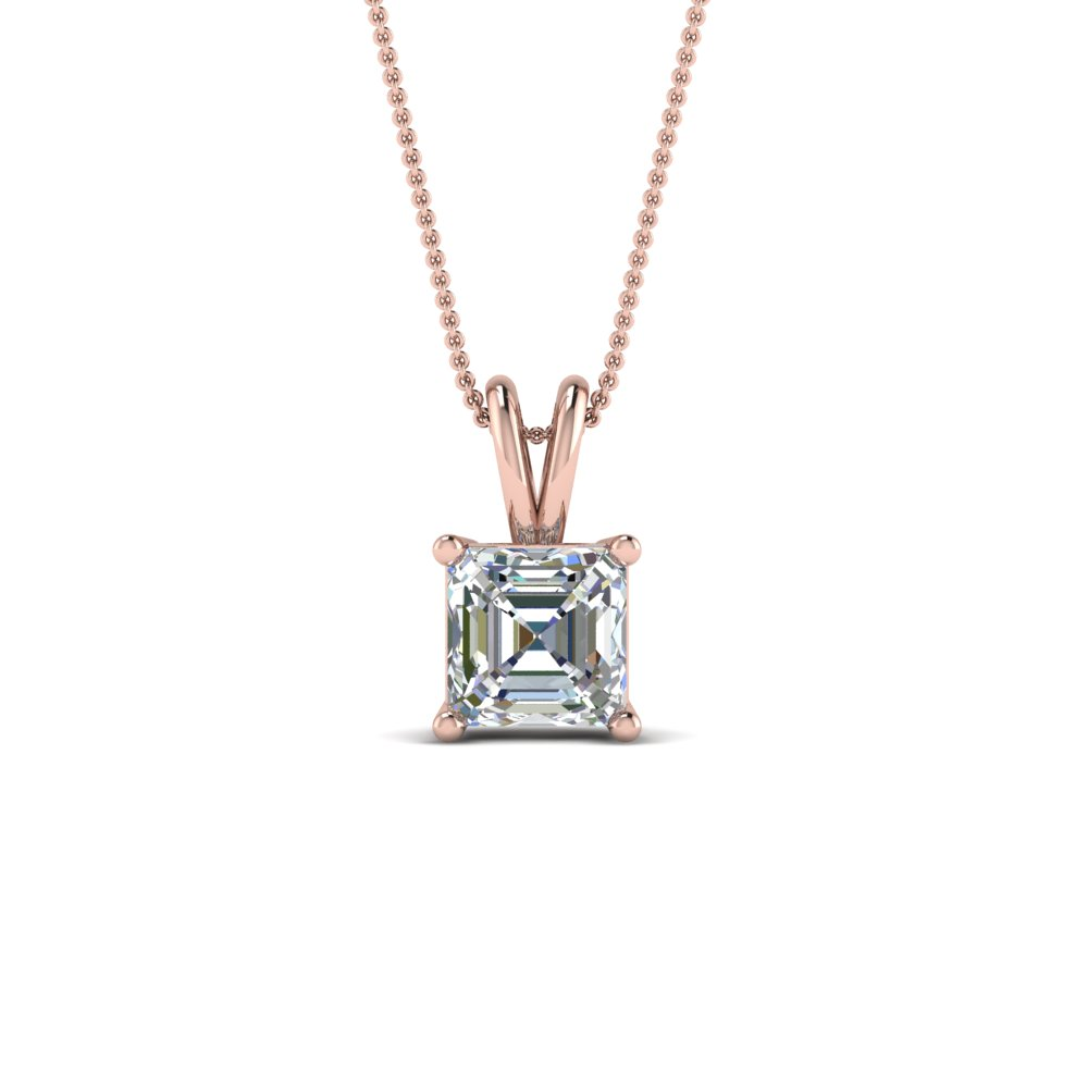 1 ct. asscher single diamond pendant in FDPD8469AS 1.0CTANGLE2 NL RG