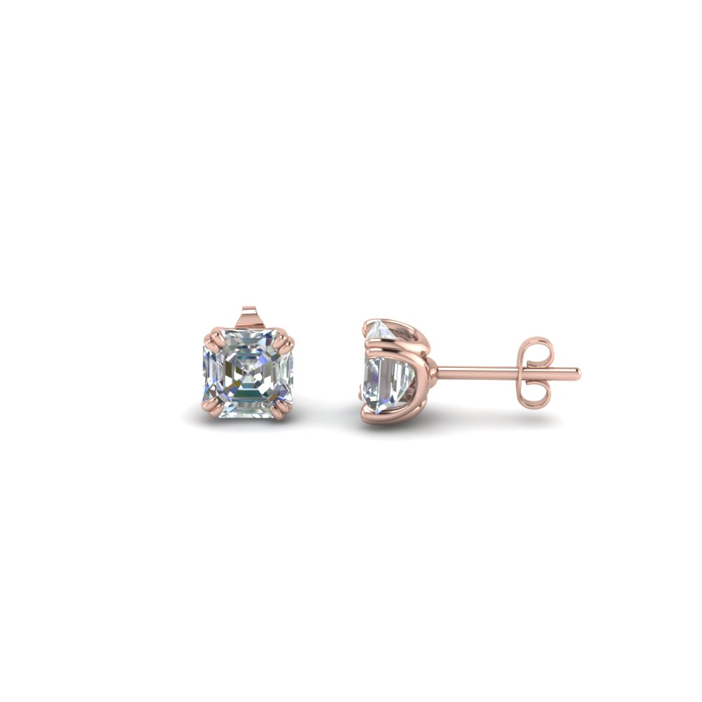 1 ct. asscher diamond earring in 14K rose gold FDEAR8461AS 0.50CT NL RG