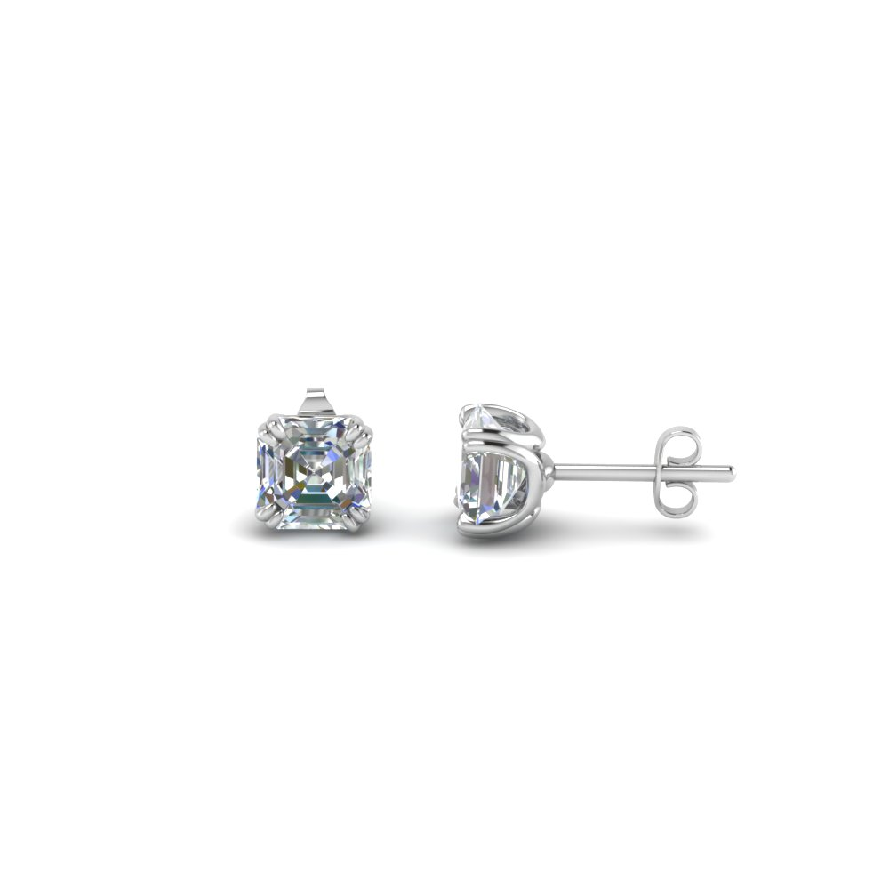 1 ct. asscher diamond earring in 950 platinum FDEAR8461AS 0.50CT NL WG