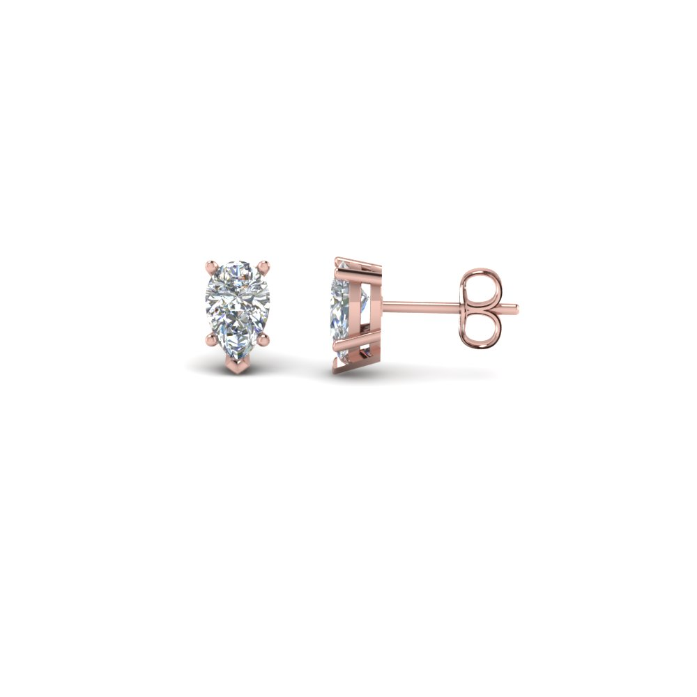 One Carat 18K Rose Gold Stud Earring