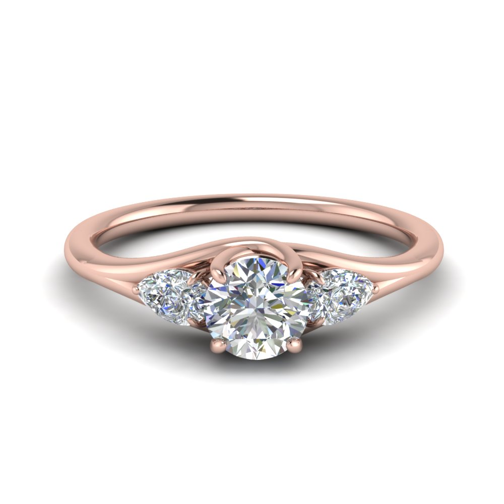 1 carat 3 stone pear wedding ring in 14K rose gold FD8607ROR NL RG