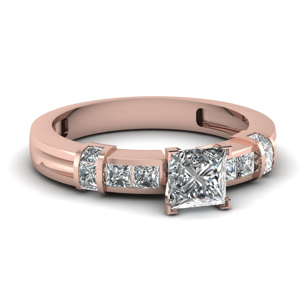 Princess Bar And Channel Setting Engagement Ring