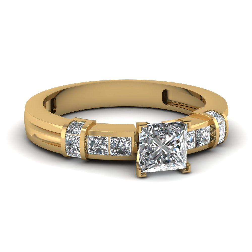 1 carat Princess diamond bar and channel setting engagement ring in 14K yellow gold FDENR1103PRR NL YG