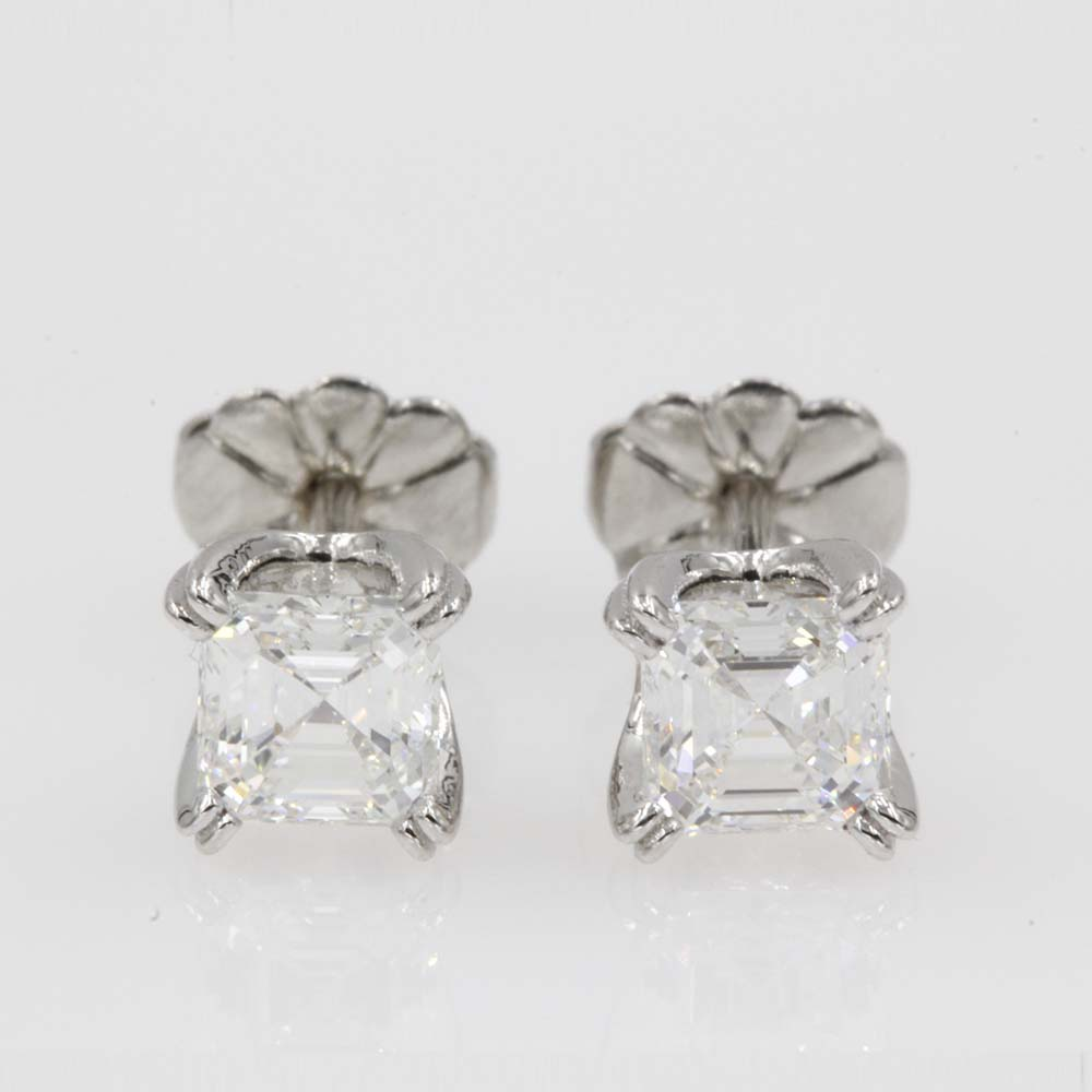1 carat asscher diamond platinum stud earring FDEAR8461AS 0.50CT