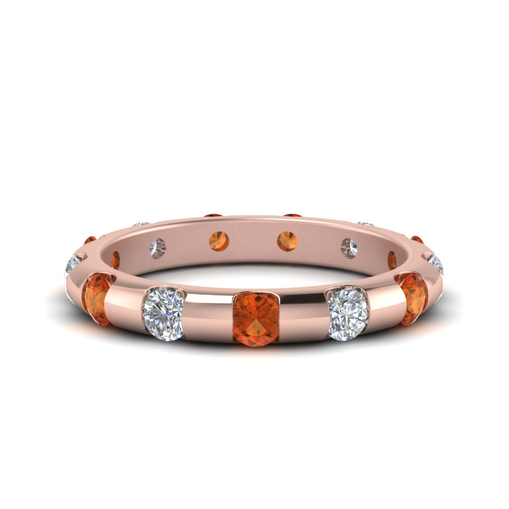 Orange Sapphire Round Eternity Band
