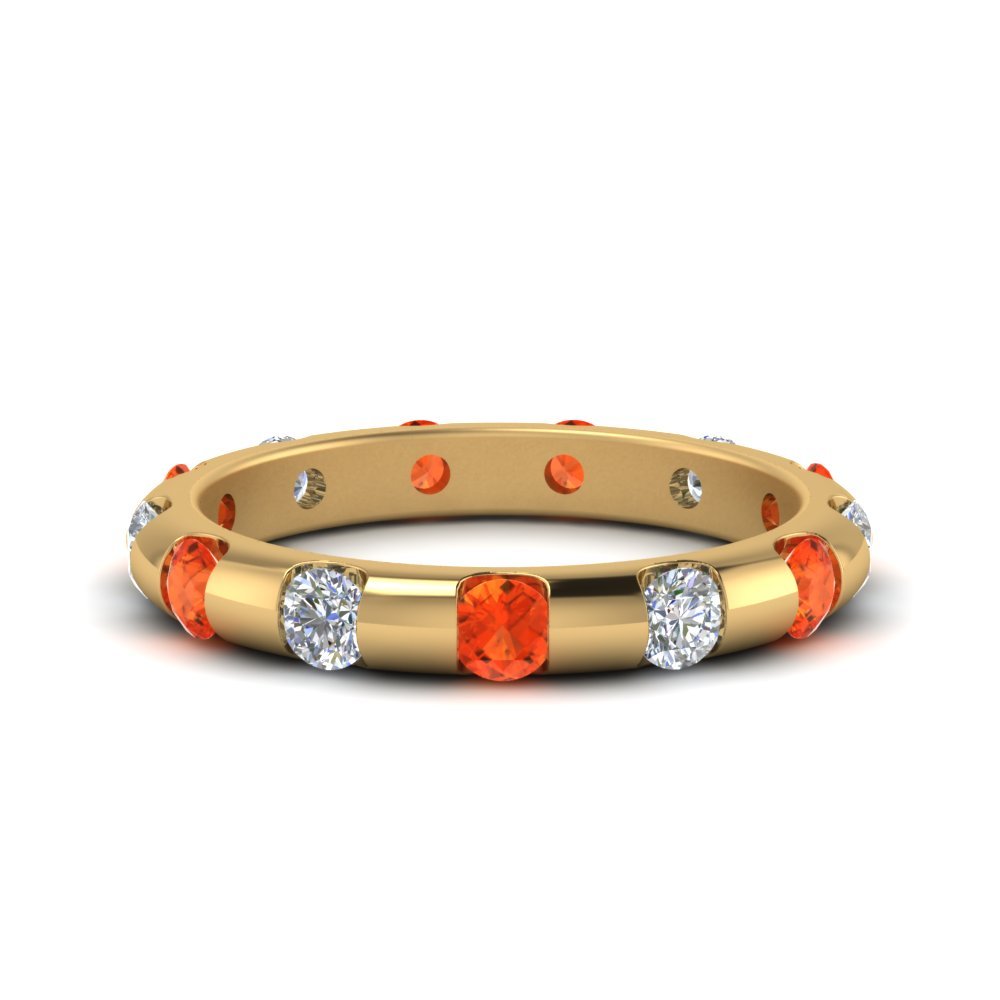 Round Orange Topaz Eternity Band