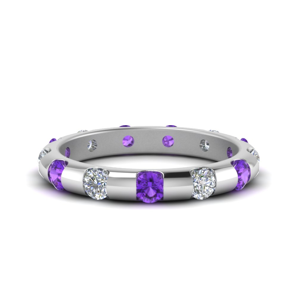 Purple Topaz Bar And Bezel Set Band