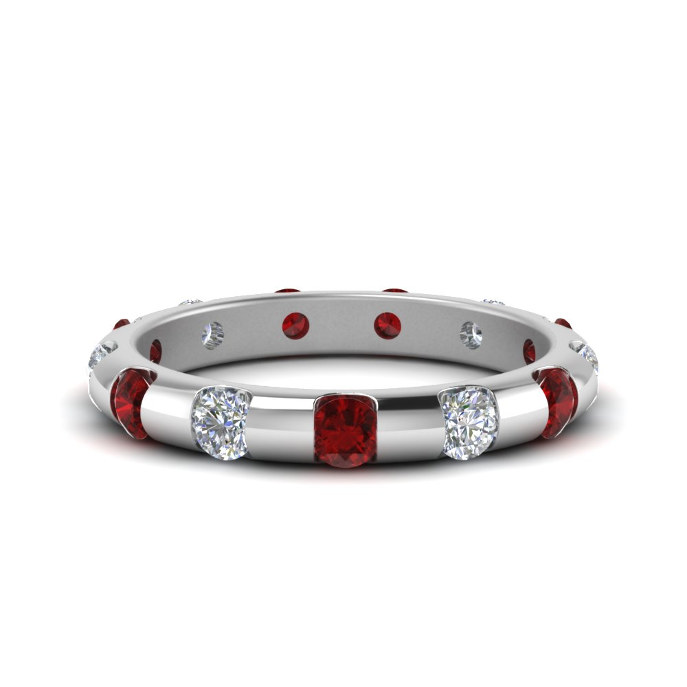 Bar Set Accent Ruby Eternity Band