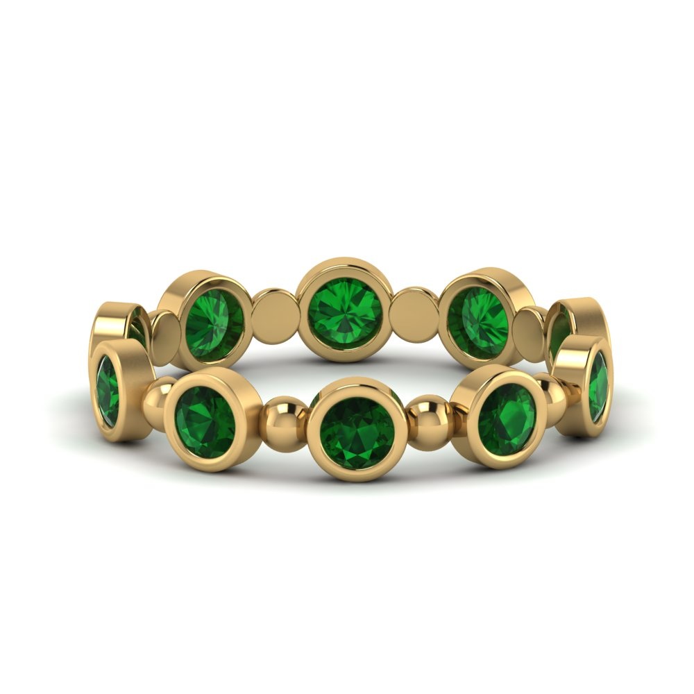 Bead Bezel Set Emerald Band