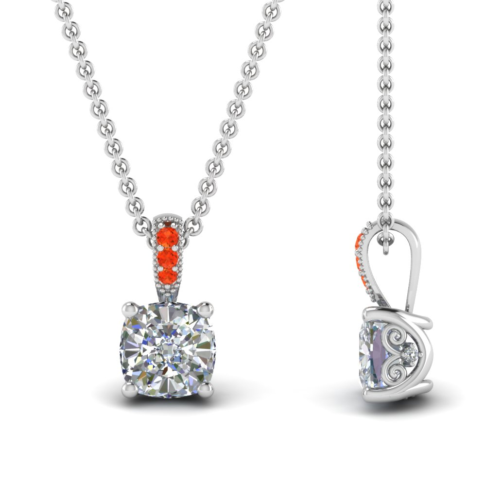 1 carat cushion cut diamond filigree pendant with orange topaz in FDPD86802CU(1.CT)GPOTOANGLE2 NL WG