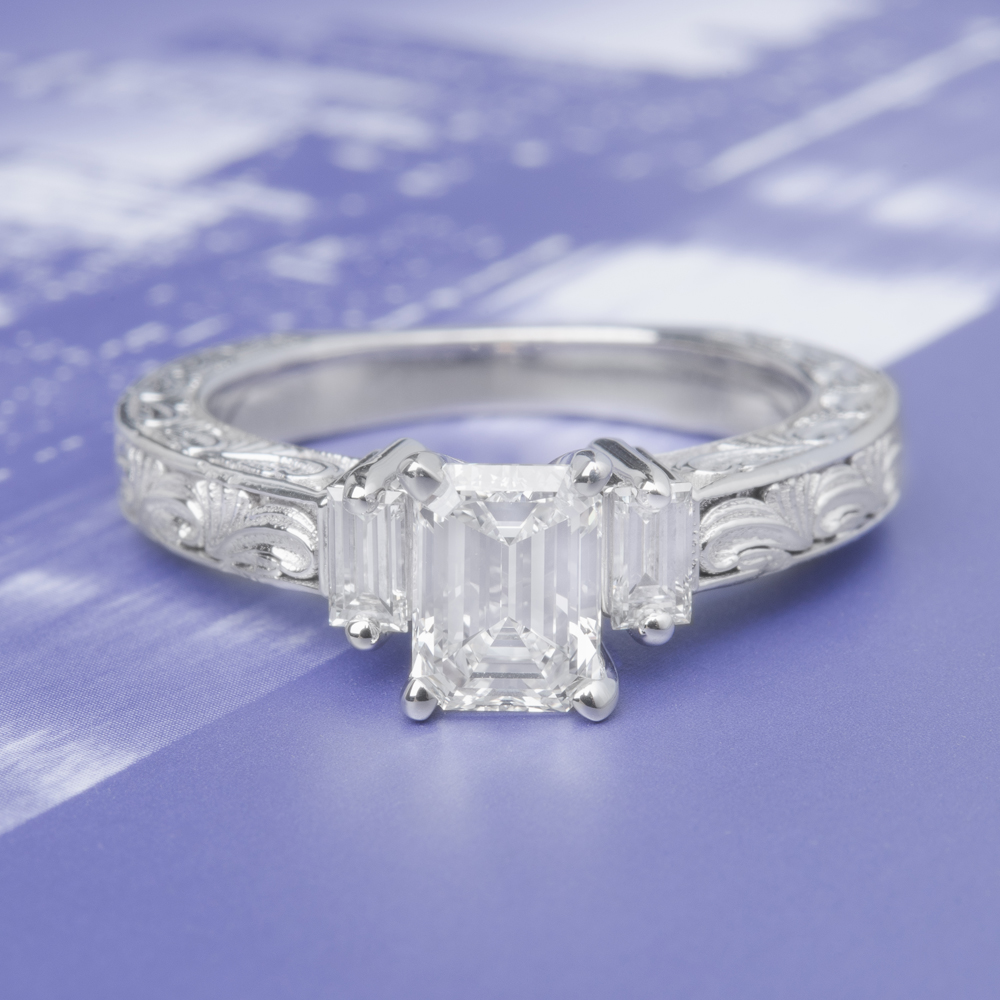 1 carat diamond 3 stone vintage engagement ring in FD120191EMRANGLE4