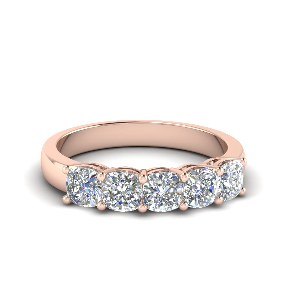 1 Carat Diamond Cushion 5 Stone Band