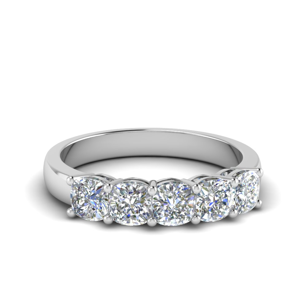 Platinum Cushion Cut 5 Stone Band