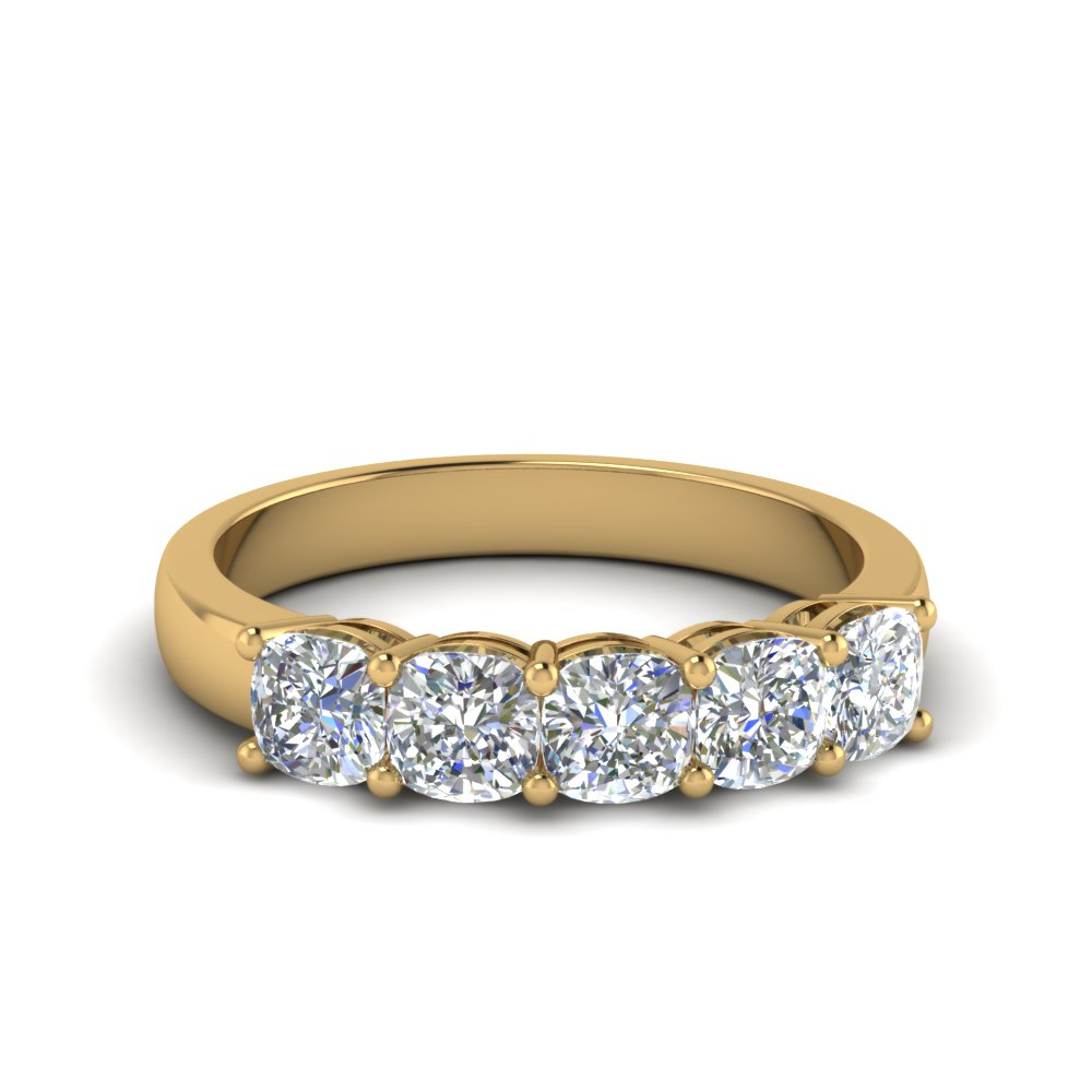 1 Ct. Diamond Cushion 5 Stone Band