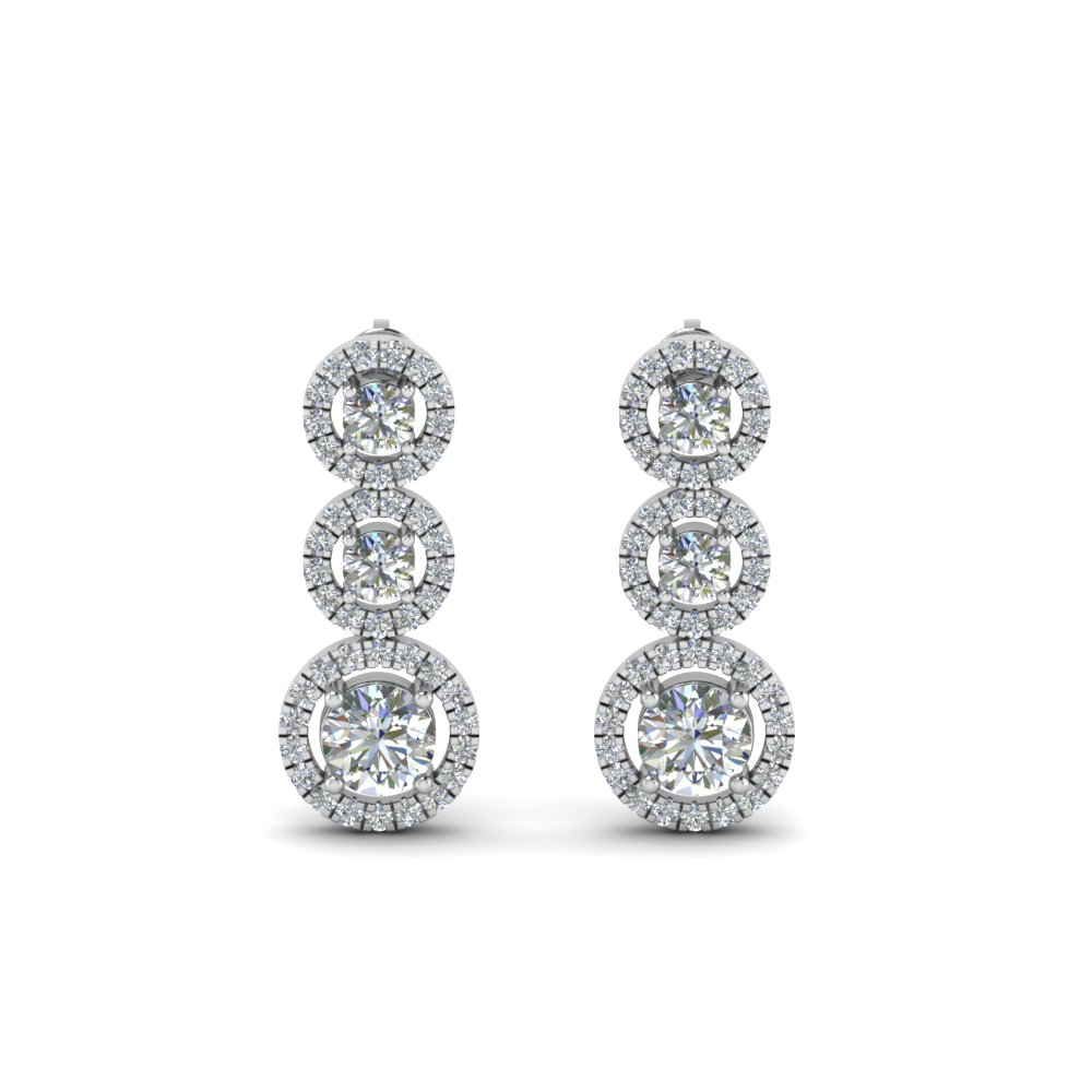 1 Ct. Diamond Halo Triple Drop Earring