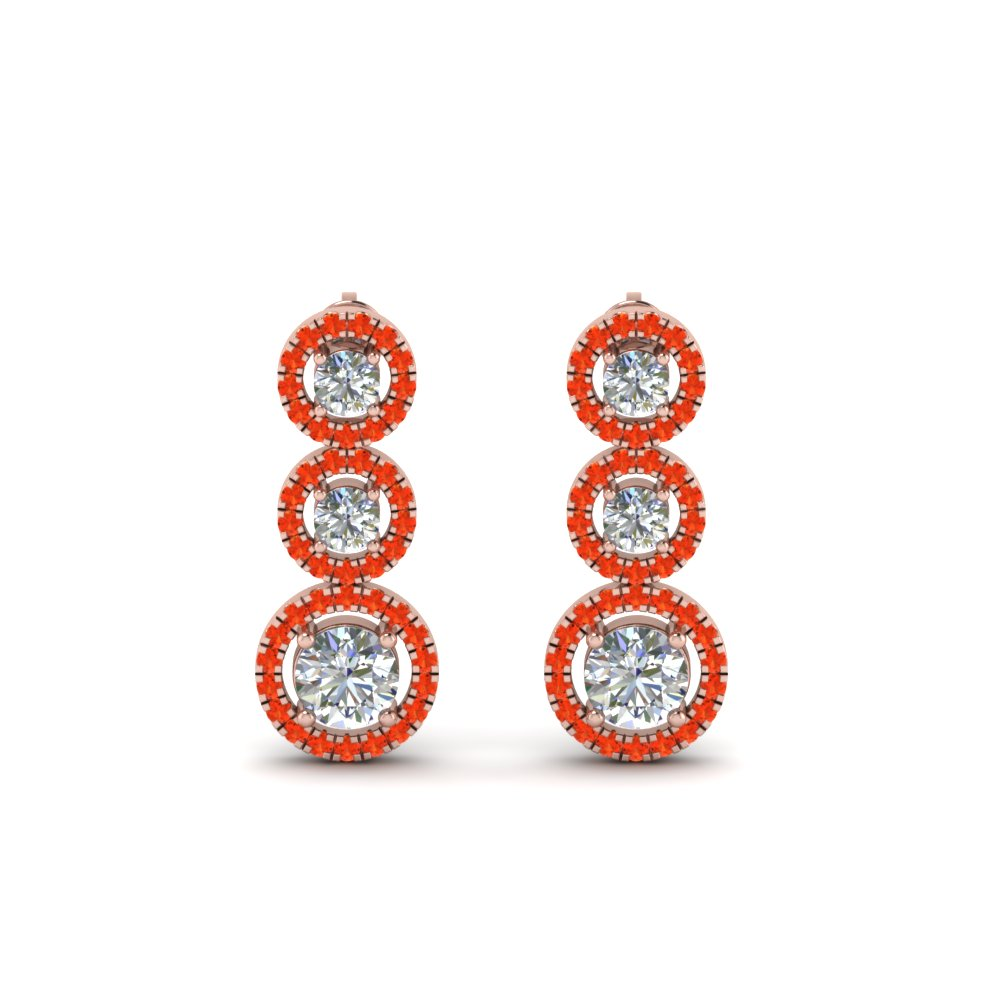 Triple Halo Orange Topaz Earring