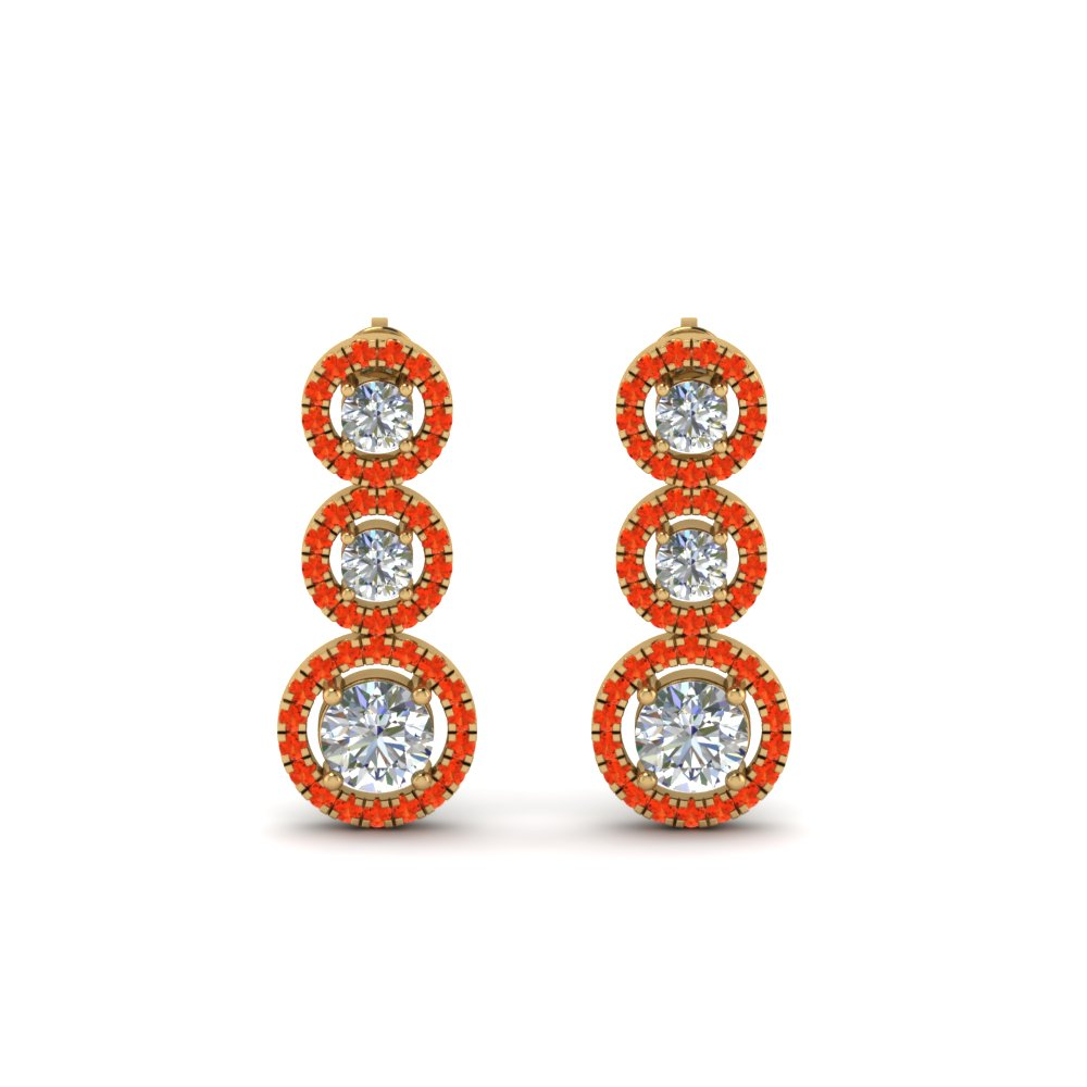 Triple Halo Orange Topaz Drop Earring