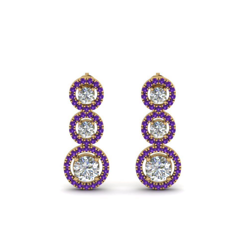 Purple Topaz Halo Triple Drop Earring
