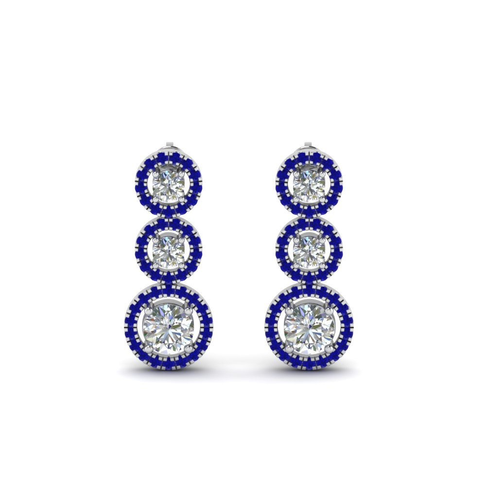 1 Carat Halo Triple Drop Earring