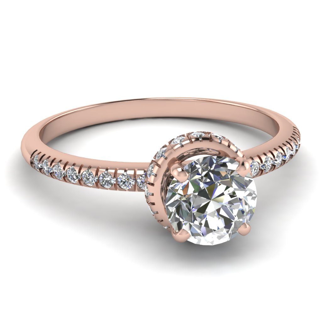 1 carat french prong round diamond crown engagement ring in 14K rose gold FDENS3089ROR NL RG