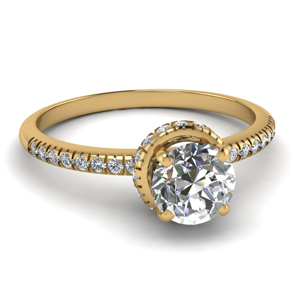 1 carat french prong round diamond crown engagement ring in 18K yellow gold FDENS3089ROR NL YG