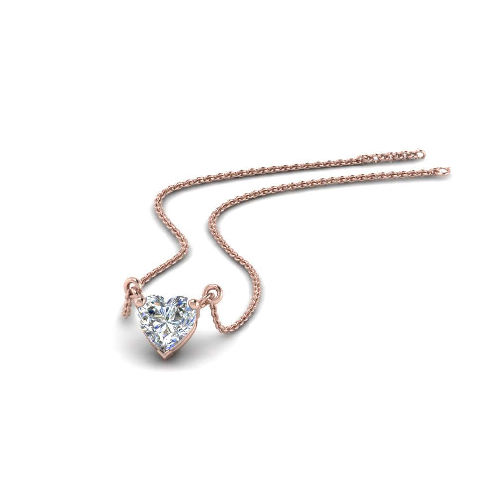 1 carat heart diamond necklace in 18k rose gold fascinating diamonds 1 carat heart diamond necklace aloadofball Image collections