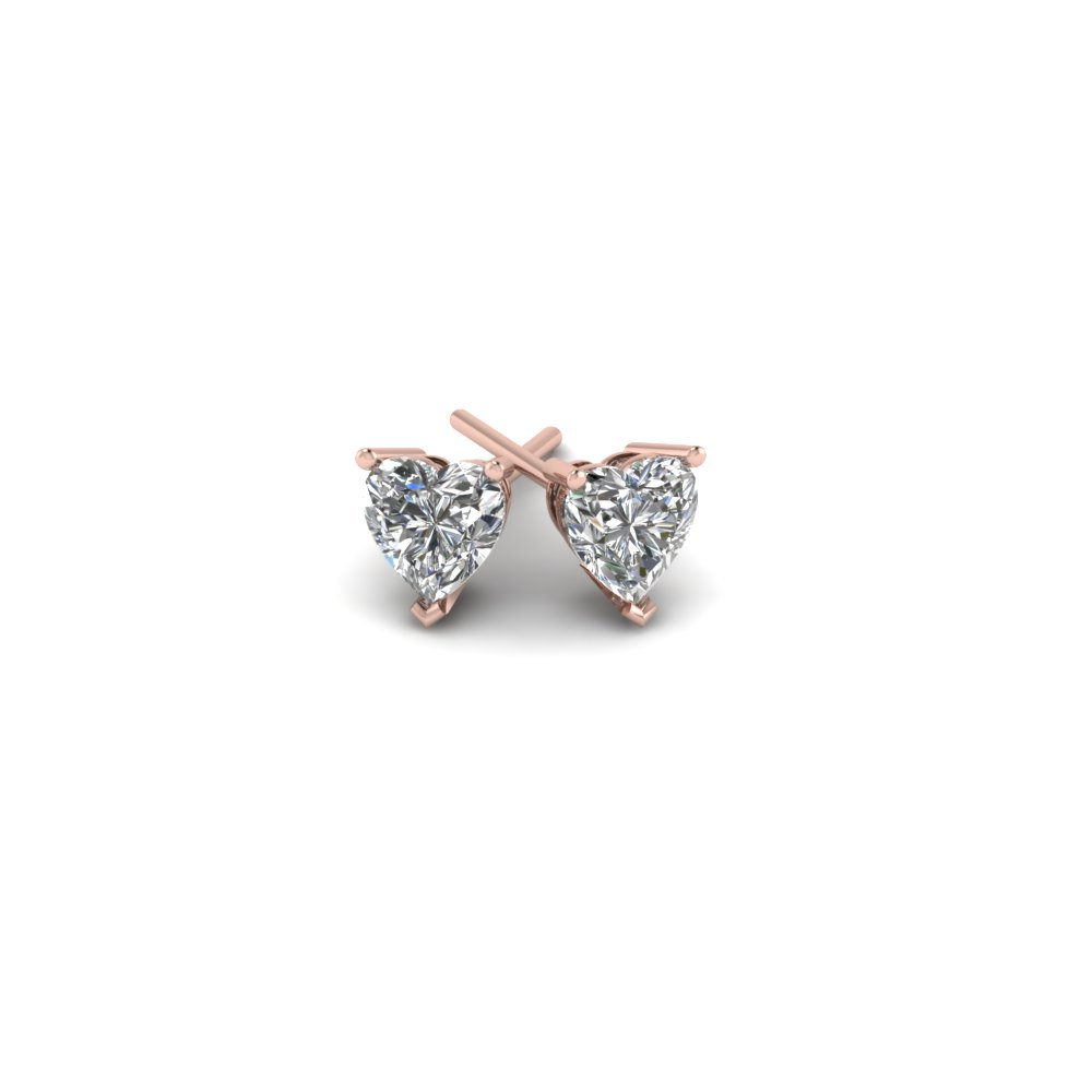 1 carat heart diamond stud earring in 14K rose gold FDEAR3HT0.50CTANGLE1 NL RG