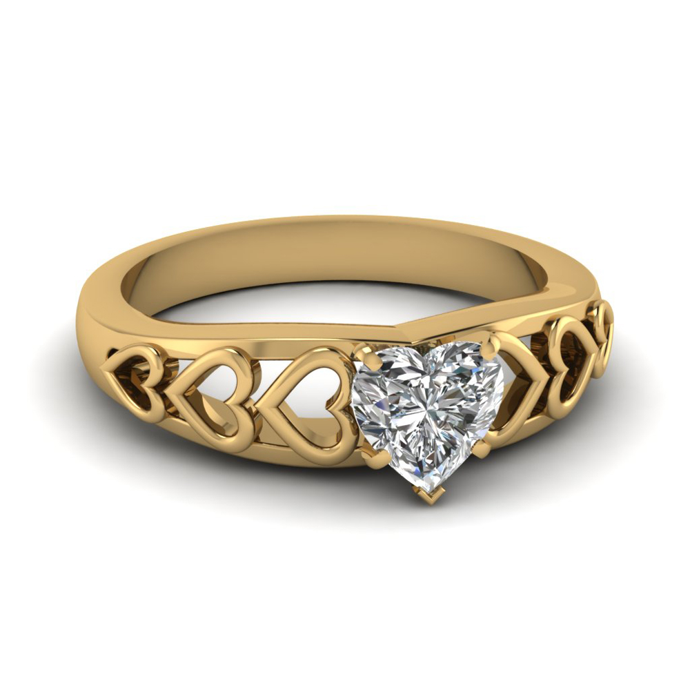 1 carat heart shaped solitaire diamond engagement ring in 14K yellow gold FD1148HTR NL YG