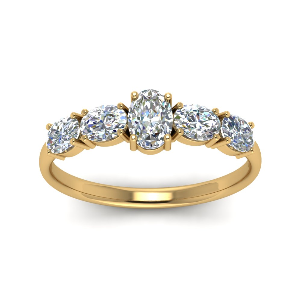 1 Carat Oval Shaped 5 Stone Wedding Ring In 14K Yellow Gold