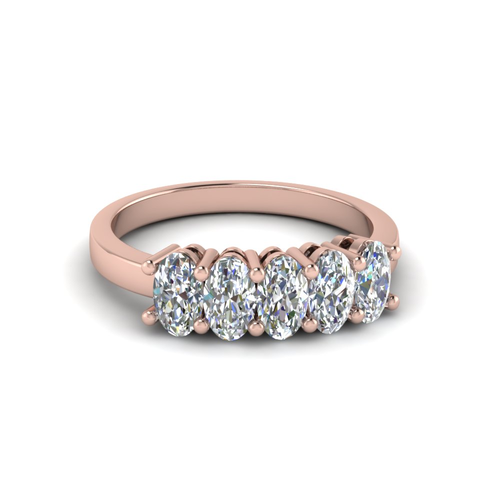 14K Rose Gold Oval Diamond 5 Stone Ring