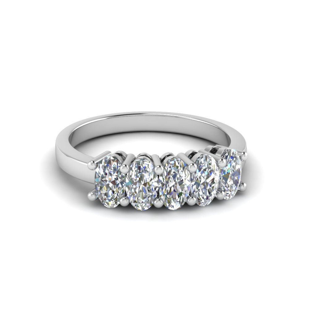 1 Carat Oval Diamond 5 Stone Ring