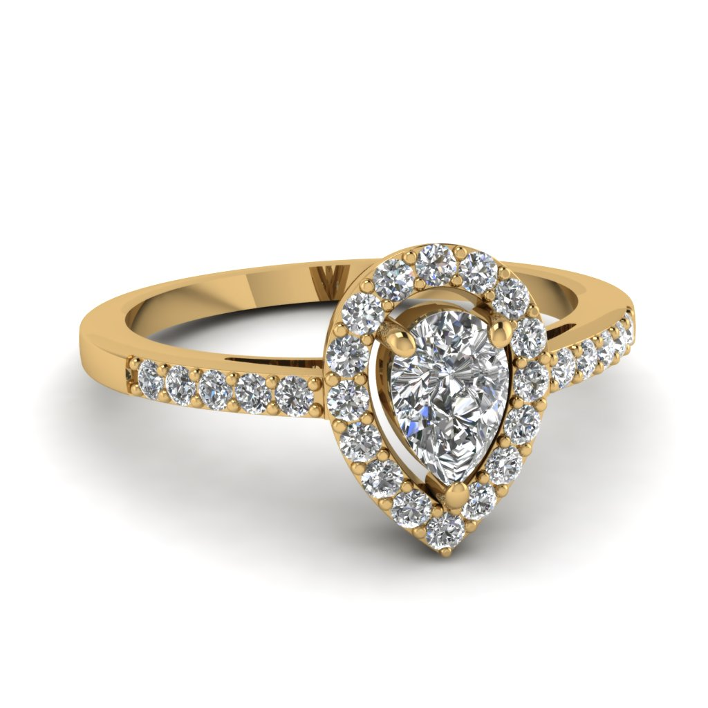 1 Carat Pear Halo Diamond Engagement Ring For Women In 14k Yellow Gold  Fdenr8809per Nl Yg