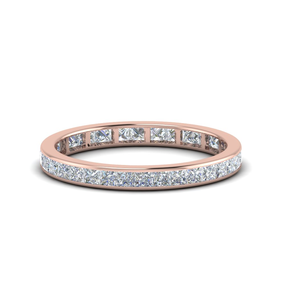 1 carat princess cut diamond channel eternity band in 14K rose gold FDEWB8384CTB NL RG
